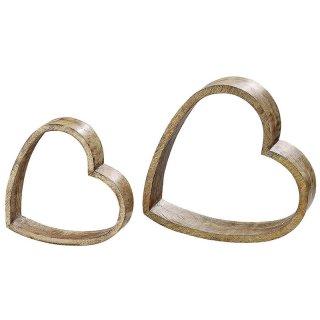 BOLTZE Deko-Objekt Herz in verschiedenen Größen stehend hellbraun 2er Satz