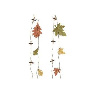 Holz Girlande Blätter 80x12x0,5cm grün/gelb/orange sortiert
