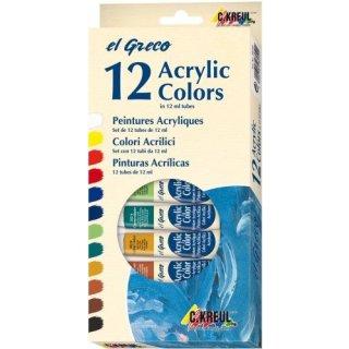 el Greco Acrylfarben 12Tuben